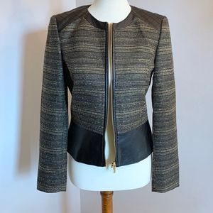 Tahari Gold and Black Faux Leather Zip Blazer